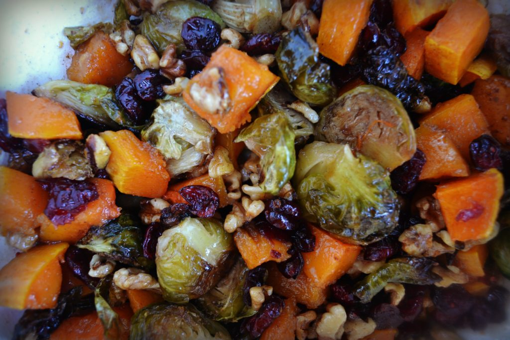 Roasted Brussels Sprouts, Butternut Squash, Walnuts, and Cranberries